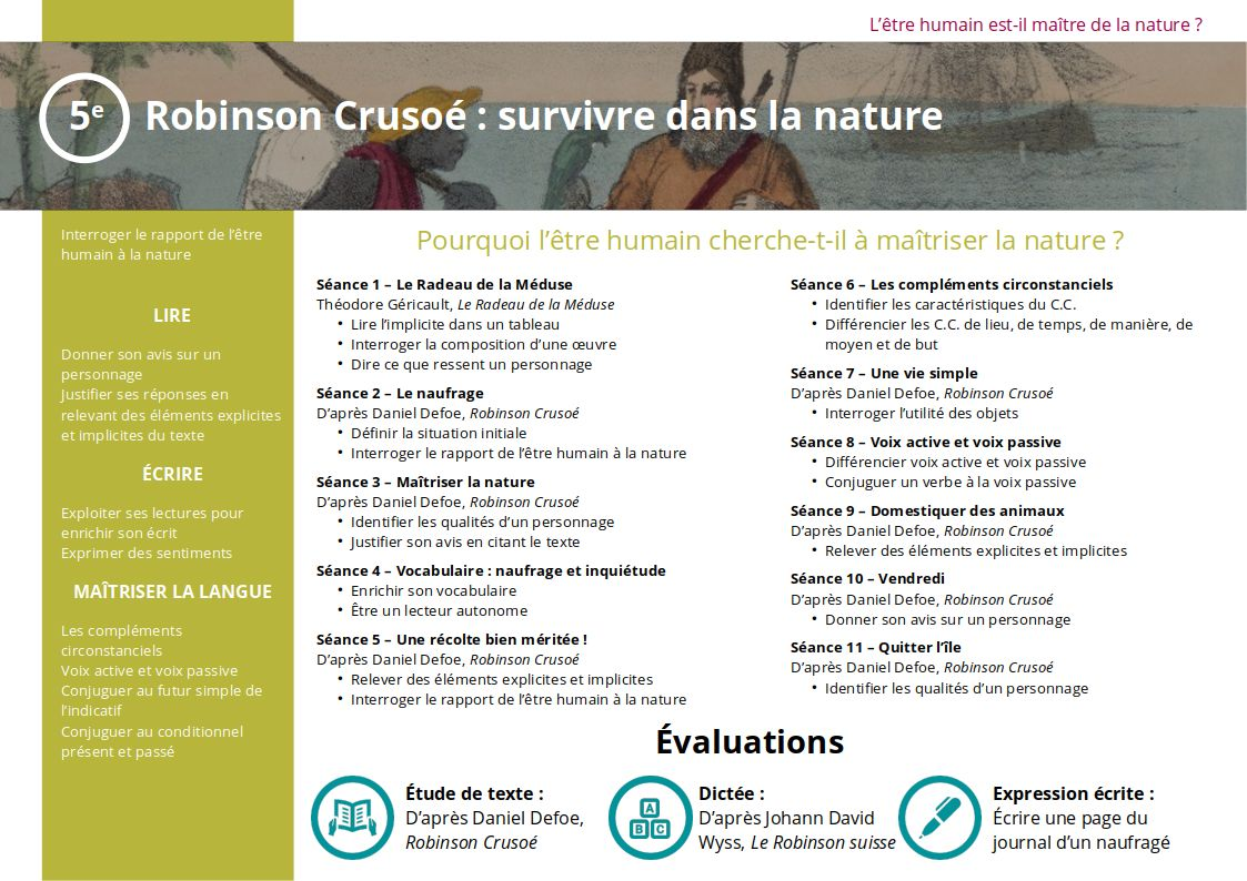 Plan de la séquence 5ème Robinson Crusoé survivre dans la nature